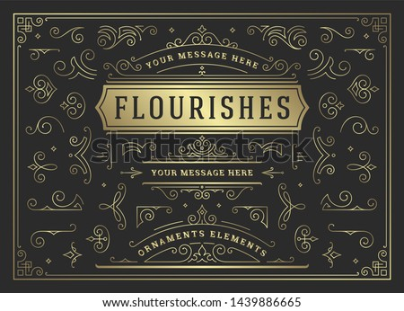 Vintage ornaments swirls and scrolls decorations design elements vector set. Flourishes calligraphic combinations for retro design, greeting cards, certificates borders, frames and invitations. #1439886665