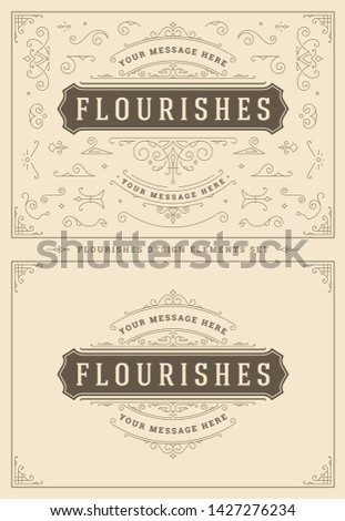 Vintage ornaments swirls and vignettes decorations design elements set vector illustration. Flourishes calligraphic combinations for retro logos, greeting cards, luxury crests, frames and invitations. Stockfoto ©