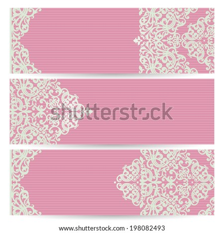 Vintage ornate cards in Victorian style Eastern floral decor in modern colors Template frame for greeting card and wedding invitation Ornate vector border and place for your text