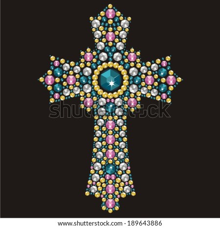 Vintage Ornate Christian Cross from brilliant stones,  rhinestone applique, decoration for clothing (abstract vector art illustration)