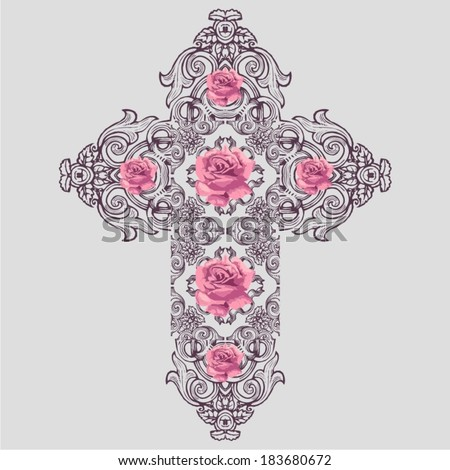 vintage ornate christian cross...