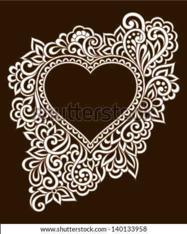 Vintage ornate frame with doodle elements. Pattern heart for wedding or Valentine's day