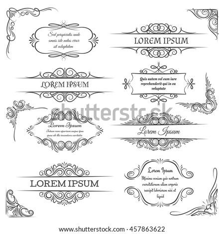 Vintage ornate frames. Decoration vector scroll elements
