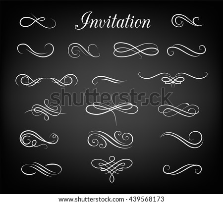 Vintage ornate frames, decorative ornaments, flourish and scroll elements. Hand Drawn Vector Flourishes, Accent Text, Brackets and Ampersand