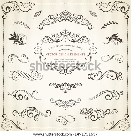 Vintage ornate frames, decorative ornaments, flourish and scroll elements. Vector illustration.