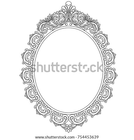 Vintage Oval Graphical Frame In Antique Style Vector 754453639