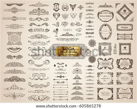 Vintage page dividers old crest and frames. Calligraphic Design logo set. Vector flourishes illustration. Border, royal ornament, decor menu elements, card invitations, labels, Restaurant and Cafe