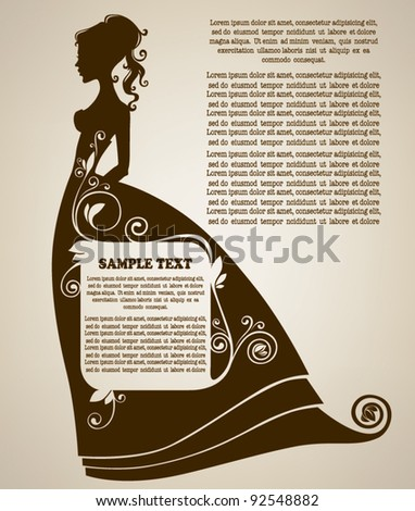 vintage page with girl's silhouette dressing in ornamental historical dress with place for your text