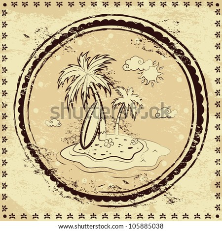 Vintage palm illustration with ethnic ornament