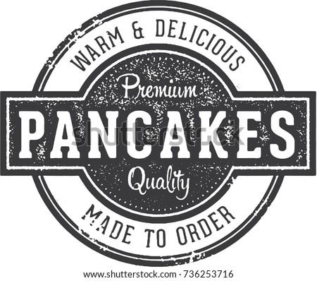 Vintage Pancakes Breakfast Restaurant Menu Stamp