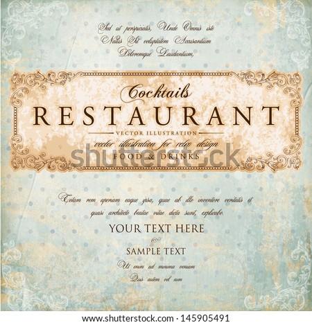 Vintage paper background. Restaurant label design with old floral frame for vintage menu design.