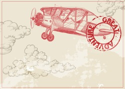 Vintage paper background with plane and clouds