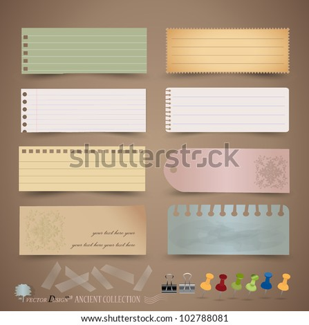 Vintage paper designs: various note papers, ready for your message. Vector illustration.