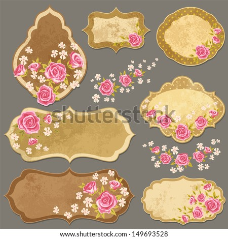 Vintage paper labels set with rose in shabby chic style. Vector illustration with paper elements and flowers.