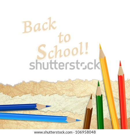 Vintage paper pieces with multicolored pencils over white background