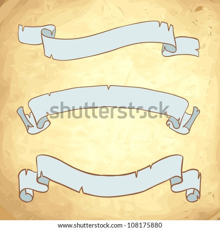 Vintage paper ribbons on anscient background vector set - stock vector
