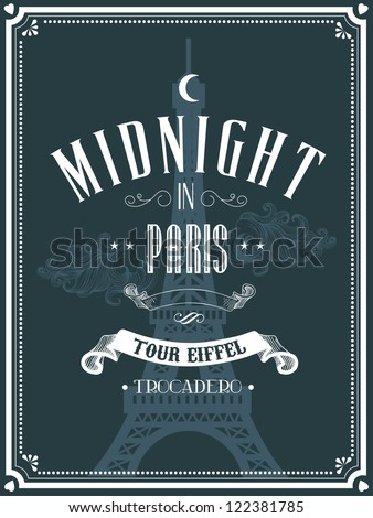 vintage paris template vector/illustration