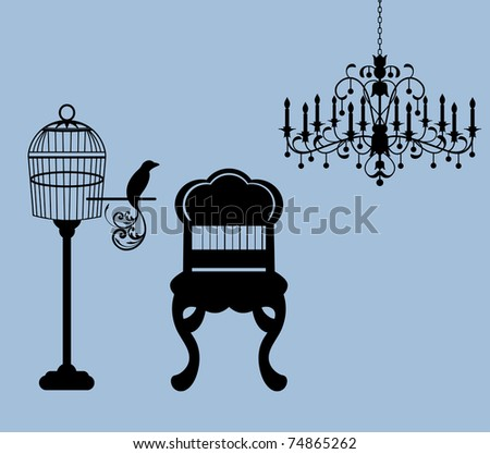 Vintage parlor - birdcage bird chair chandelier  (use cage with or without bird and perch)