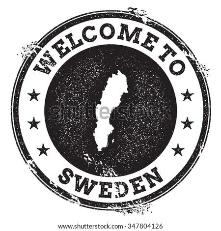 Vintage Passport Welcome Stamp With Sweden Map Grunge Rubber Stamp