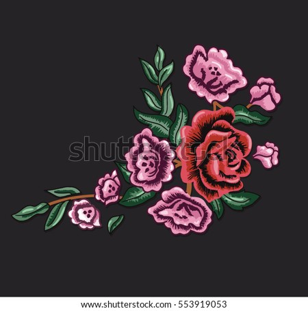 vintage patch embroidery flowers 2