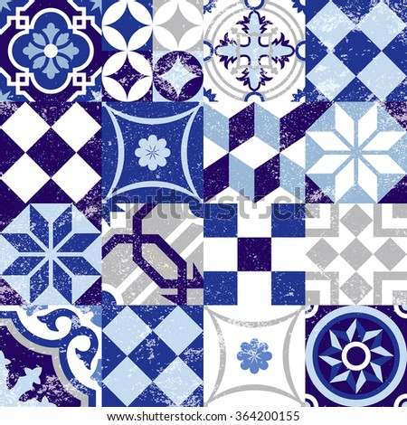 Vintage patchwork background with traditional blue tile decoration, classic mosaic style. EPS10 vector.