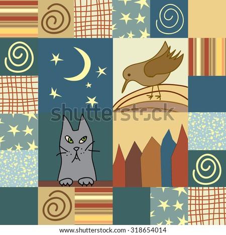 vintage patchwork quilt vector