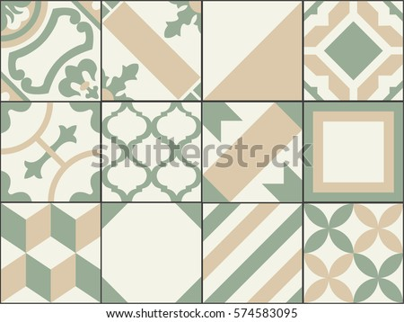 vintage patchwork tiles. old...