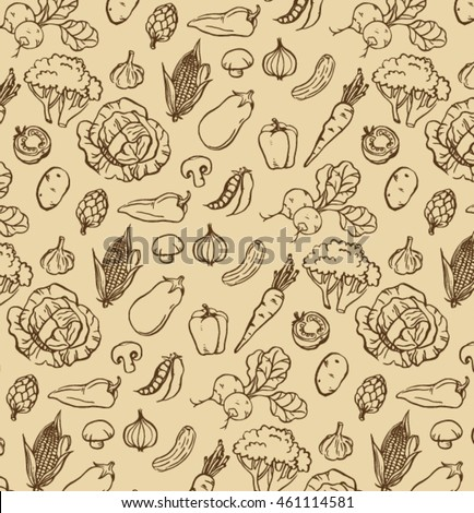 vintage pattern of hand drawn dark brown ink outline drawing grocery store vegetables on old paper brown background #461114581