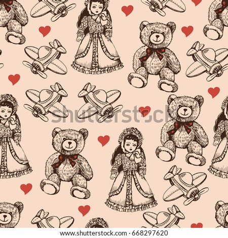 vintage pattern with toys. hand ...