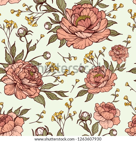 stock-vector-vintage-peony-flower-with-buds-and-leaves-with-small-flower-in-blue-background-cartoonish-style