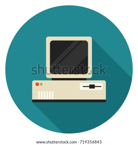 Vintage personal computer icon. Illustration in flat style. Round icon with long shadow.