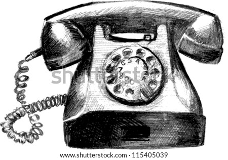 Vintage Phone Hand Drawn Sketch Vector Illustration
