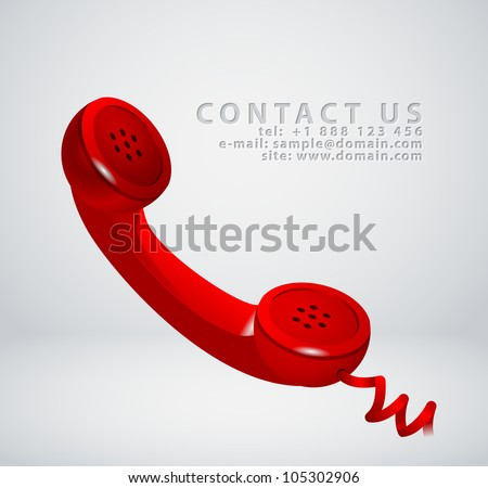 "Vintage phone receiver as ""contact us"" icon - stock vector"