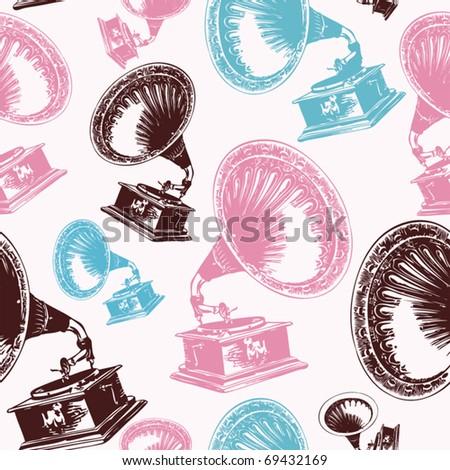 vintage phonograph seamless