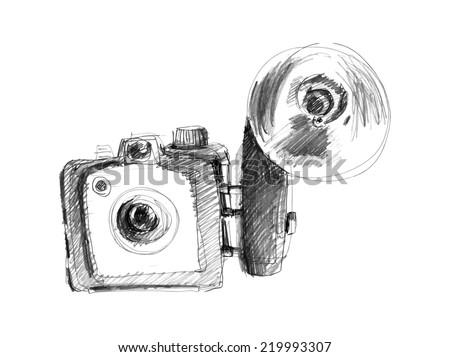 Camera Vintage Vector Free : Vintage photo camera drawing ez canvas
