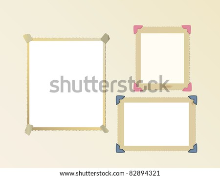 vintage photo frame set, mounted with photo corners and adhesive tape, vector