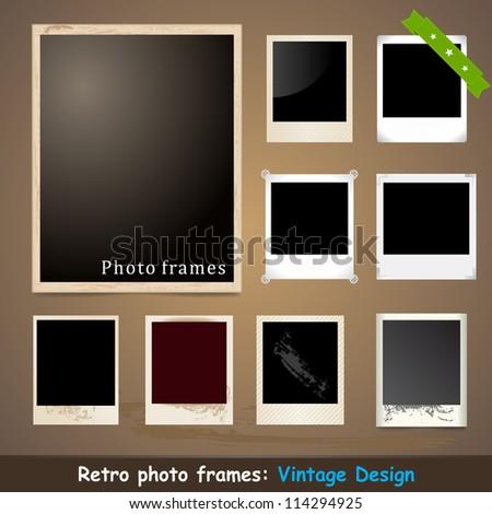Vintage Photo Frame. Vector Design Template. Grunge Style.