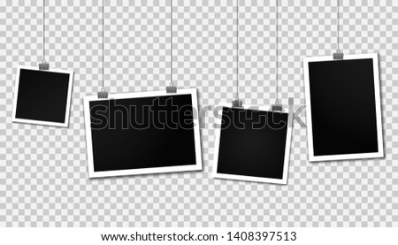 Vintage photo frames hanging on a clips. Set of photo frames. Realistic detailed photo icon design template. Blank photos frame hanging on a line. Vertical and horizontal template photo design