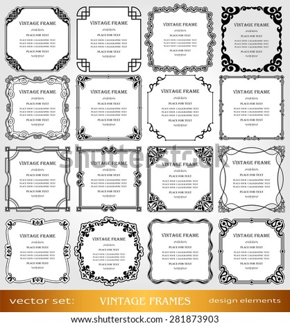 Vintage photo frames set, borders, creative, ornamental square frames, retro design, victorian elements and page decorations, decor for old style books, greetings and invitations