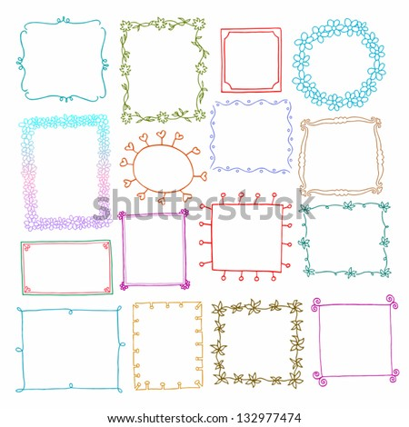 Vintage photo frames set, drawing doodle style, antigue ornamental and cute photo colored frames for decoration and design