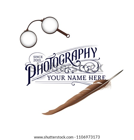 stock-vector-vintage-photography-logo-with-feather-and-glasses
