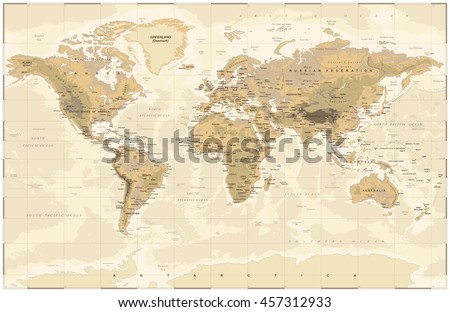 Vintage world map vector download free vector art stock vintage physical world map gumiabroncs