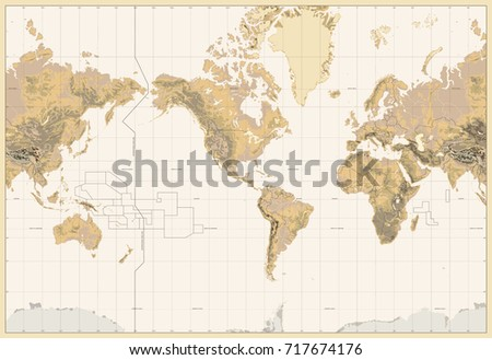 Vintage Physical World Map-America Centered-Colors of Brown. No bathymetry and text. Vector illustration. #717674176
