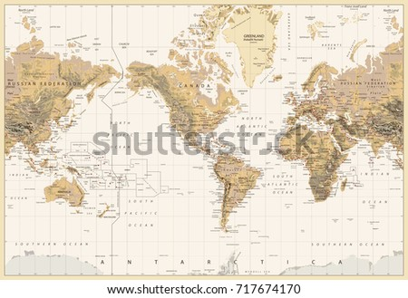 Vintage Physical World Map-America Centered-Colors of Brown. No bathymetry. Vector illustration. #717674170