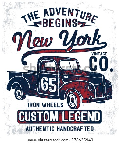 vintage pick up illustration  ...