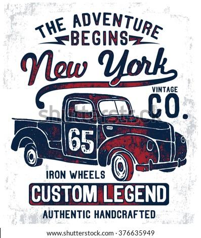 vintage pick up illustration  ...
