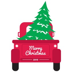 Vintage pickup truck with christmas tree