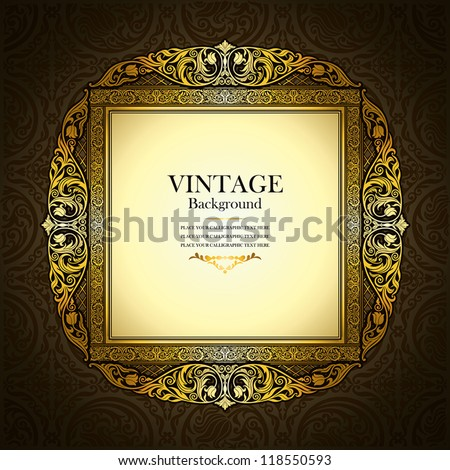 Vintage picture wall frame wall, damask background, antique, victorian gold ornament, baroque brown old paper, card, ornate cover page, label, floral luxury pattern template, concept design image idea