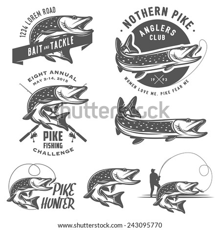 vintage pike fishing emblems