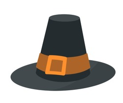 Vintage pilgrim hat flat vector illustration. Old fashioned headwear, traditional colonial american clothing item. Antique headwear with buckle. Thanksgiving holiday celebration symbol